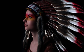 Picture style, look, feathers, girl, headdress, face