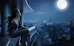 Picture sadness, dream, night, the city, loneliness, the moon, silence
