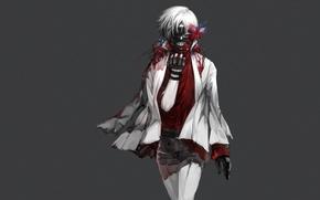 Picture blood, mask, art, Art, white hair, red eye, Tokyo Ghoul, Ken Kanek, Tokyo Ghoul, The …