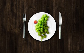 Wallpaper plug, knife, grapes, plate