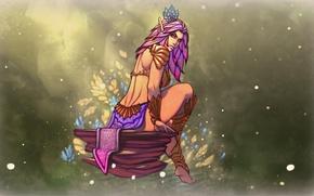 Picture girl, flowers, feet, stone, elf, body, beauty, art, blume elf