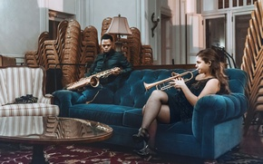 Picture girl, blue, man, living room, sofa, velvet, saxophone, musicians, trumpet