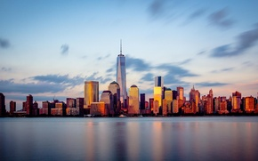 Picture City, Sunset, New York, Manhattan, NYC, Downtown, Skyline, View, New Jersey, River, Travel, Hudson