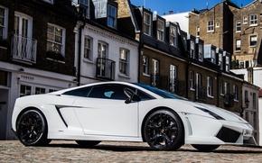 Picture white, the sky, the building, Lamborghini, white, gallardo, sky, Lamborghini, building, lp560-4