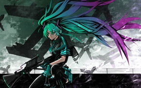 Picture the sky, weapons, overcast, stockings, aircraft, tie, gloves, vocaloid, sitting, Hatsune Miku, long hair