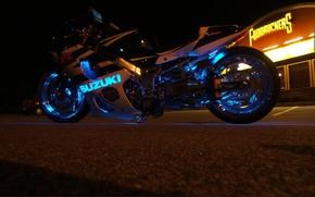 Picture neon, suzuki, motorcycle