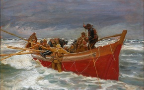 Picture sea, the sky, storm, boat, picture, fishermen, Michael Ancher