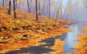 Wallpaper autumn, leaves, trees, nature, river, art, artsaus