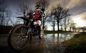 Picture road, nature, puddle, motorcycle