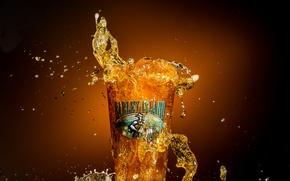 Picture macro, glass, beer, splash, Barley Island Beer