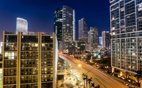 Picture city, the city, lights, city, Miami, Miami, night, USA., beautiful