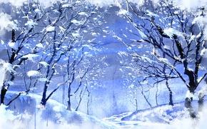 Wallpaper winter, snow, trees, figure
