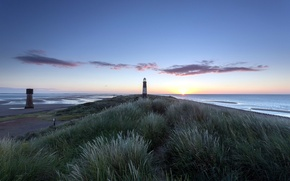 Picture sea, landscape, lighthouse, morning