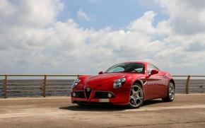 Picture Alfa Romeo, Red, Competition, 8C
