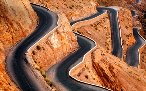 Picture road, serpentine, Morocco, the gorge of dades, The Atlas mountains