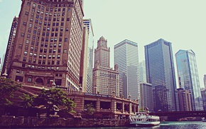Picture building, skyscrapers, steamer, America, Chicago, Chicago, USA, skyscrapers