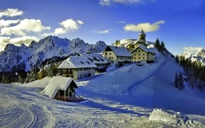 Picture winter, the sky, clouds, snow, trees, mountains, home, Church