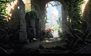 Picture stones, castle, arch, ruins, Temple exit
