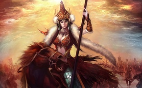 Picture Girl, armor, spear, warrior, riders, the rays of the sun, fur, army, top