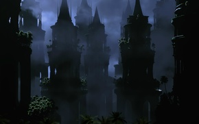 Picture night, the darkness, tower, Damn place