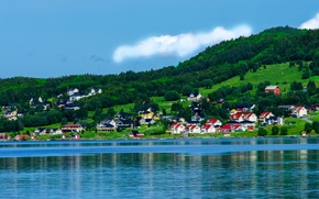 Picture the sky, clouds, trees, mountains, hills, home, Bay, Norway