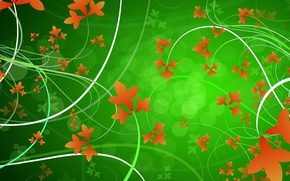 Picture leaves, line, circles, orange, green, patterns, vector, curves
