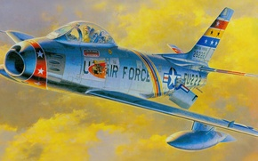 Picture figure, fighter, art, American, jet, North American, United States air force, Sabre, F-86F
