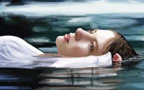 Wallpaper lies, reflection, blue eyes, art, hand, painting, face, water, girl