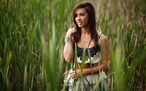 Picture look, girl, nature, smile, plants, brunette