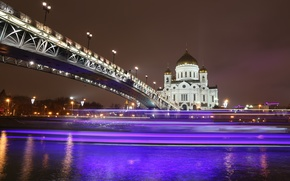 Picture night, bridge, lights, river, Cathedral, temple