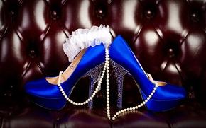 Picture shoes, heels, beads, blue, garter, sofa. leather, kurashina