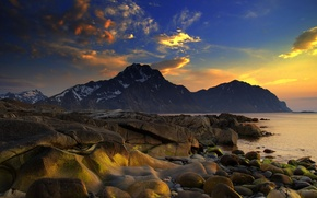 Picture the sky, nature, rocks, shore, Sunset