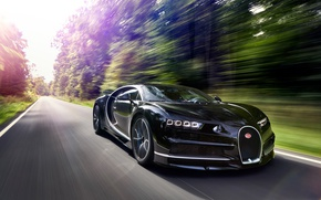 Wallpaper logo, car, Chiron, Bugatti Chiron, Bugatti, speed, supercar, asphalt