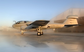 Wallpaper The plane, hangar, Grumman, Prowler, sunset