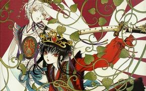 Picture leaves, katana, crown, red eyes, Hana, arm, white wings, Tkugawa Lemits Of, Gate 7, the …