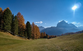 Wallpaper forest, autumn, South Tyrol, the sun, Sassolungo, trees, The Dolomites, slope, mountains, Italy, the sky, ...