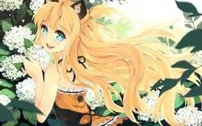 Picture girl, flowers, smile, plants, petals, art, vocaloid, ears, Vocaloid, seeu, btoor
