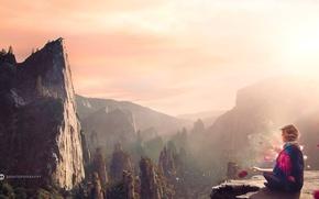Picture mountains, birds, woman, meditation, desktopography