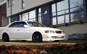 Picture turbo, white, wheels, black, japan, toyota, jdm, tuning, front, face, JZX100, Chaser, trd
