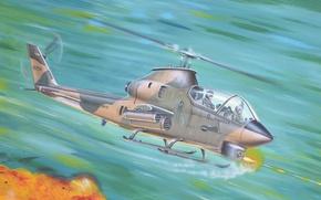 Picture war, art, helicopter, painting, vietnam war, Bell AH-1G Huey Cobra