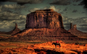 Picture the sky, clouds, horse, Mountains, rider, cowboy