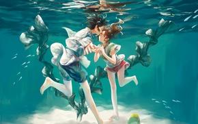Picture girl, bubbles, anime, art, guy, under water, spirited away, spirited away, ogino chihiro, haku, in …