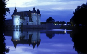 Picture castle, the evening, lights, monument, pond, architectural