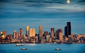 Picture city, moonrise, skyline, Washington, moonlight, cityscape, Seattle, Puget Sound, Seattle Skyline, Pacific Northwest, Elliott Bay