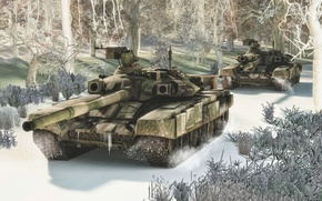 Picture Snow, Army, Tanks, Unmarked T-90s