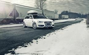 Picture Audi, white, Allroad, frontside