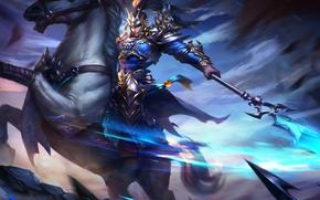 Picture horse, warrior, MAG, hon, art, Heroes of Newerth, benzington, Bennington Zhao Yun Secret