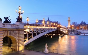 Picture bridge, river, France, Paris, morning, lights, boats, Palace, Pont Alexandre III, Grand Palais