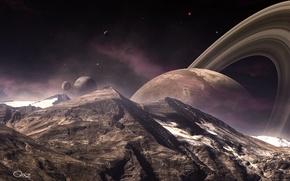 Picture mountains, landscape, planet, ring, satellites, peak