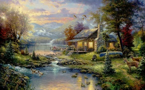 Wallpaper forest, trees, mountains, birds, house, river, boat, Picture, house, forest, painting, deer, river, nature, art, ...